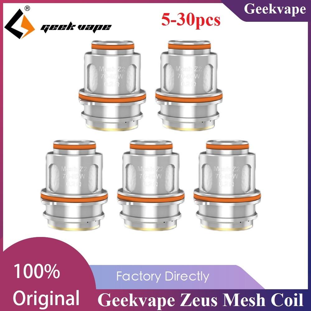 5pcs/pack Original Geekvape Zeus Mesh Coil 0.4ohm Z1 Coil & 0.2ohm Z2 Coil E-cig Vape Core For Zeus Tank / Aegis Legend Zeus Kit