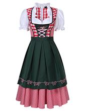 2 ピース/セットオクトーバーフェストバイエルン伝統的なギャザースカートドイツビールメイド衣装ビールベイブチェック柄ドレス