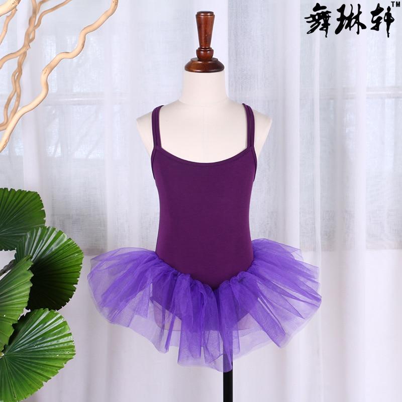 Летняя одежда для упражнений для девочек, крест двойной ремень, балетное платье, Сетчатое платье, одежда для латинского танца, на заказ - Цвет: Purple
