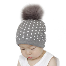 Children Girl Boy Wool Fur Caps Children's Hats Baby Dots Hat Crochet Faux Fur Baby Cap Cotton Pompom Bobble Hat Wholesale baby hat faux fur baby cap cotton pompom bobble hat for kids winter boys and girls caps artificial fur children s hats