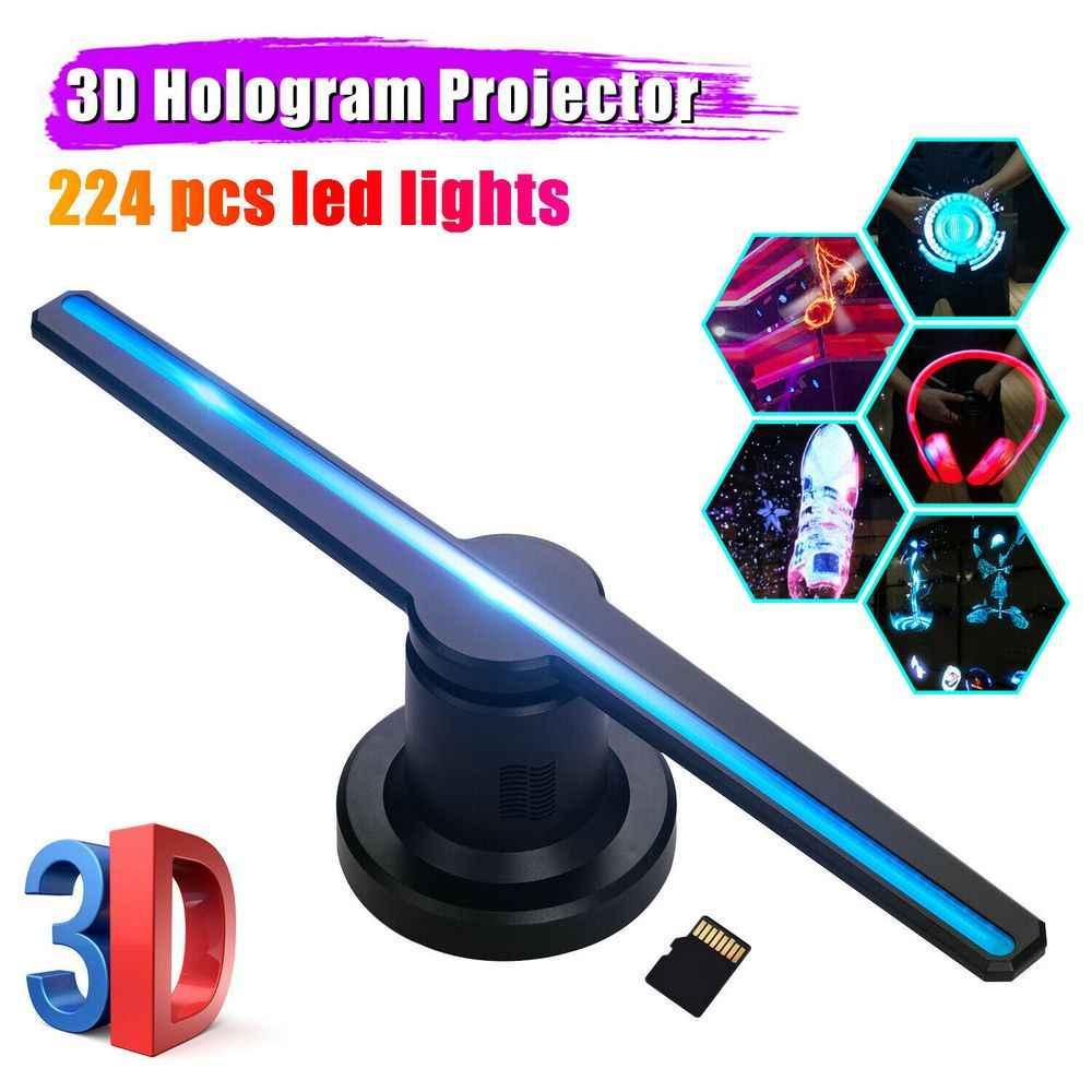 3D โฮโลแกรมการโฆษณา LED Fan การถ่ายภาพโฮโลแกรม 3D LED โปรเจคเตอร์ Light 16GB โฆษณาโลโก้