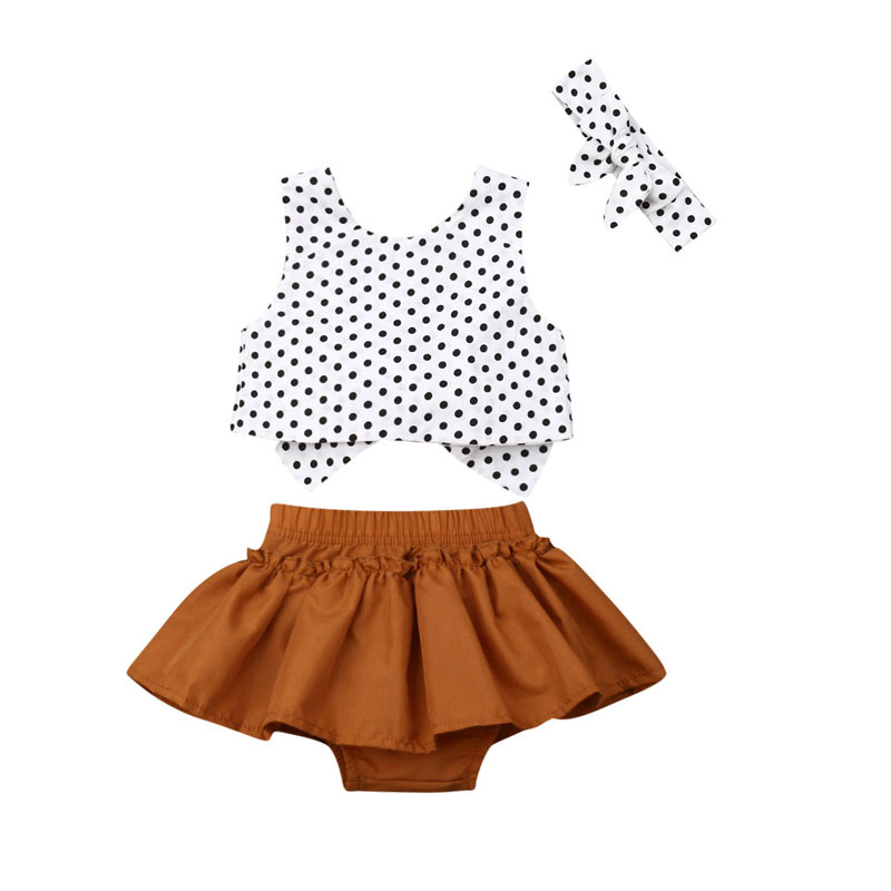 Pudcoco US Stock Newborn Infant Baby Girls 0-24M Outfit Clothes Print Dot Tops+Skirt Jumpsuit Headband 3PCS Summer Outfit Set