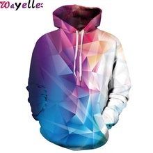 New Sweatshirt 3D Printing Lovers Hooded Street Influx of People Loose Sports Prismatic Uniform Warm Visual Size XXL Big
