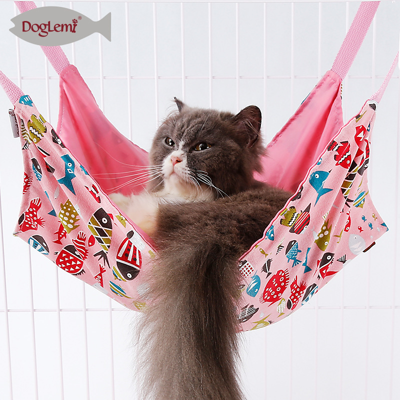 Dole M New Products Two-sided For Summer Pure Cotton Fish Pattern Cat Hammock Cat Cage Hanging Bed Cat Blanket