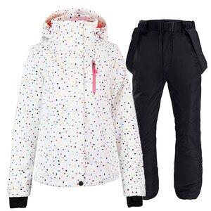 Image 3 - Ensemble de combinaison de snowboard pour femme, noir et blanc, veste + bavoir, pantalon de neige, étanche, coupe vent, hiver, respirant