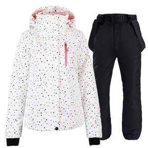 Image 3 - black and white Women Snow Wear snowboarding suit set waterproof windproof breathable Winter outdoor Ski jacket + bibs Snow pant