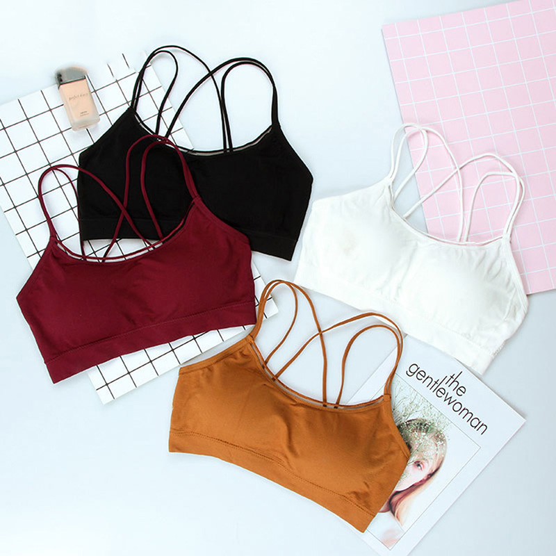 Summer Women Push Up Wireless Lace Bra Top Women Bandage Bralette Underwear Lingerie Full Cup