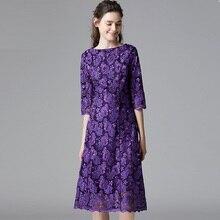 שמלת מזדמן סתיו רקום