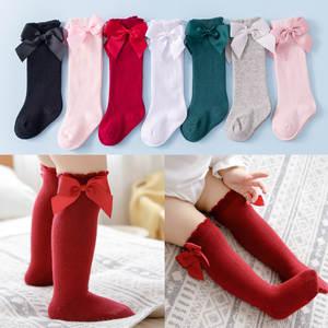 Stocking Socks Accessories Ruffled Toddler Girls Winter Cotton Cute Bowknot Knee