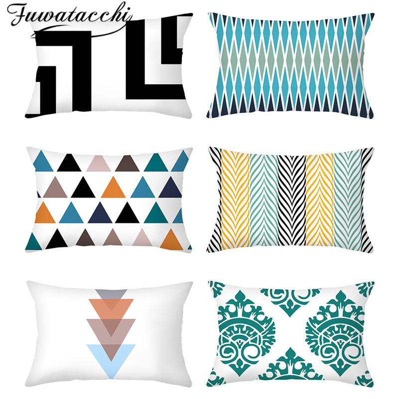 Fuwatacchi Geometric Pattern Pillowcase Blue Stripped Printed Cushion Cover For Home Chair Sofa Decorative Pillowcases Wholesale
