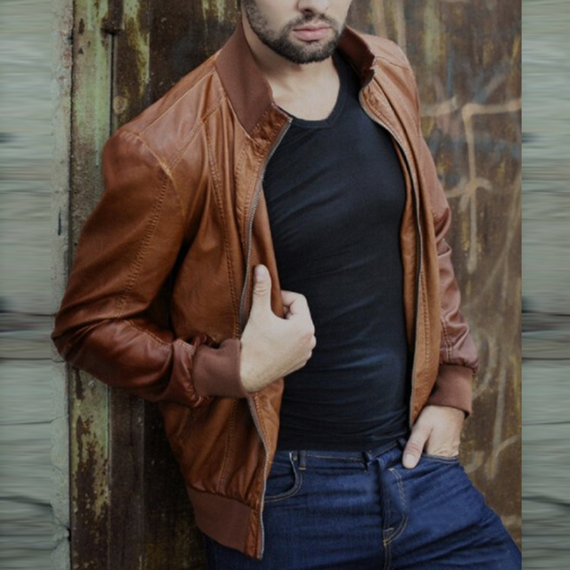 H467e43bea42e4c16a19c511e6aa2db0bl HEFLASHOR  Autumn Men Fashion Motorcycle Leather Jacket slim fit Coats Male Casaco Masculino Casual Zipper Black jacket