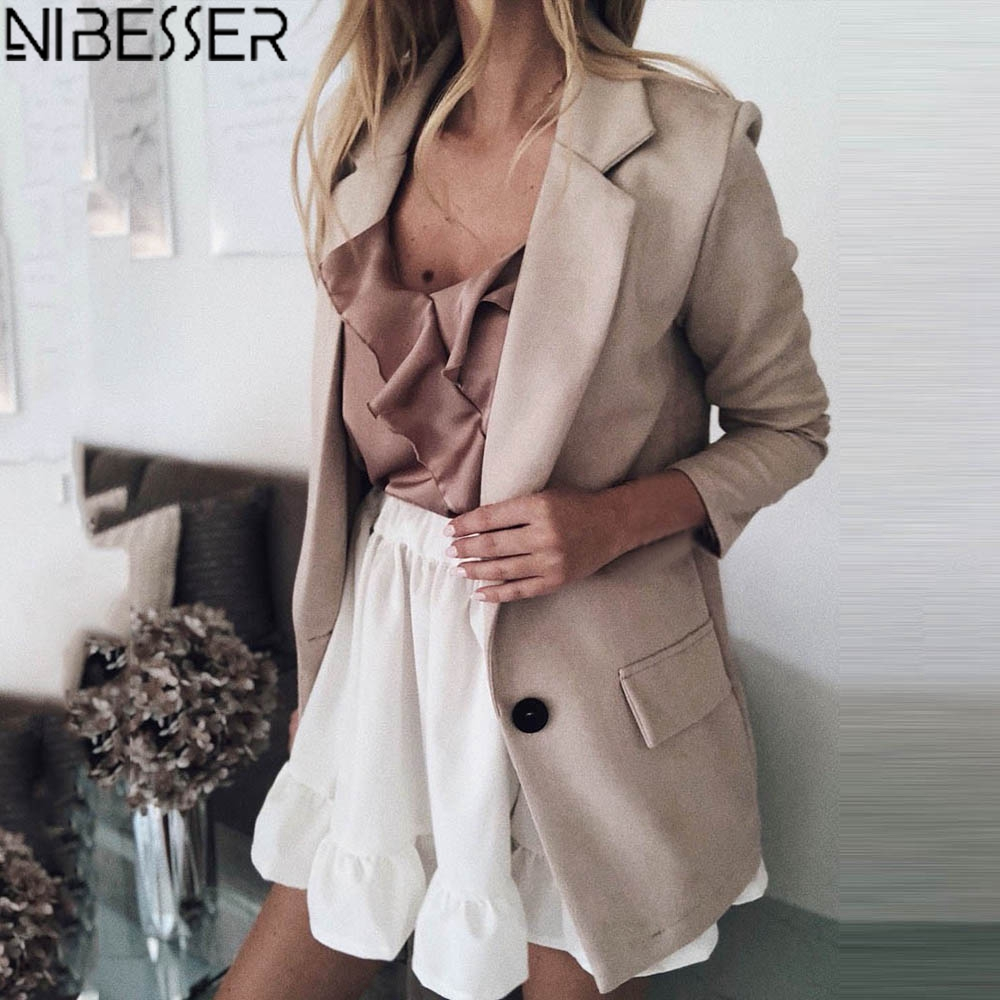 NIBESSER Fashion Style Blazer Women Basic Notched Collar Solid Jacket Pockets Chic Tops Busines Button Suit Jacket Plus Size 5XL