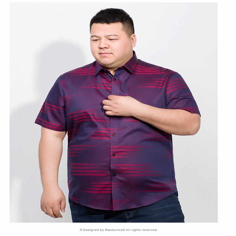 Plus size 8xl 7xl 6xl marca formal camisas de vestido nova moda de alta qualidade algodão manga curta camisa casual masculina solto ajuste design