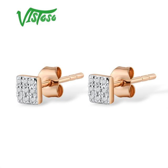 585 Rose/White/Gold & Sparkling Diamond Earrings 1