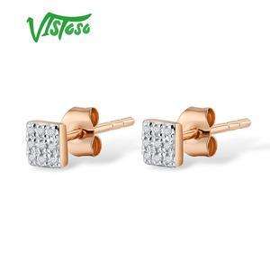 Image 2 - VISTOSO Gold Ohrringe Für Frauen 14 K 585 Rose Gold Funkelnden Diamant Dainty Runde Cirle Stud Ohrringe Mode Trendy Feine schmuck