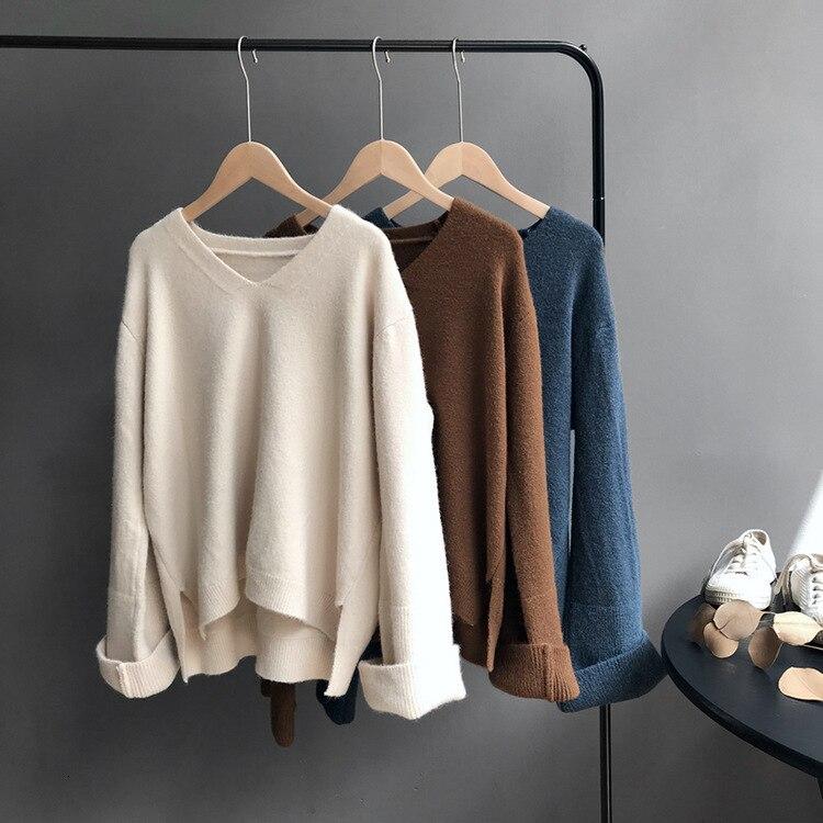 Mooirue Autumn 2019 Female Kawaii  Knitted Sweater Lazy V Neck Long Knitting Loose Jumper Feminino Yellow Grey Sweater