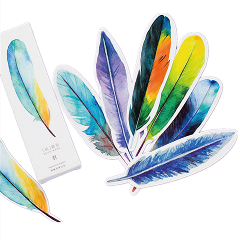 30 Pcs/ Lot Colorful Feather Style Kawaii Bookmark Paper Book Markers Marque Page Cute Stationery School Chancery Supplie Gift
