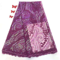 Beautiful Purple 3 D Lace Applique Flower Nigerian Lace Fabric With Sequins Sell Well Hign Quality Lace Trim Dress
