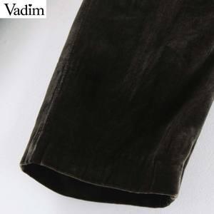 Image 5 - Vadim women elegant velvet long pants elatic waist zipper fly pockets office wear solid casual ankle length trousers KB207