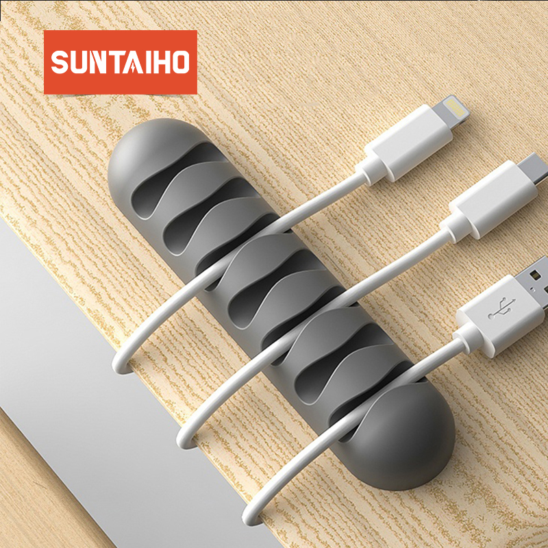 Suntaiho Phone Cable Organizer USB Cable Holder Winder Management Clip Earphone Holder Mouse Wire Cord Silicone Random Color