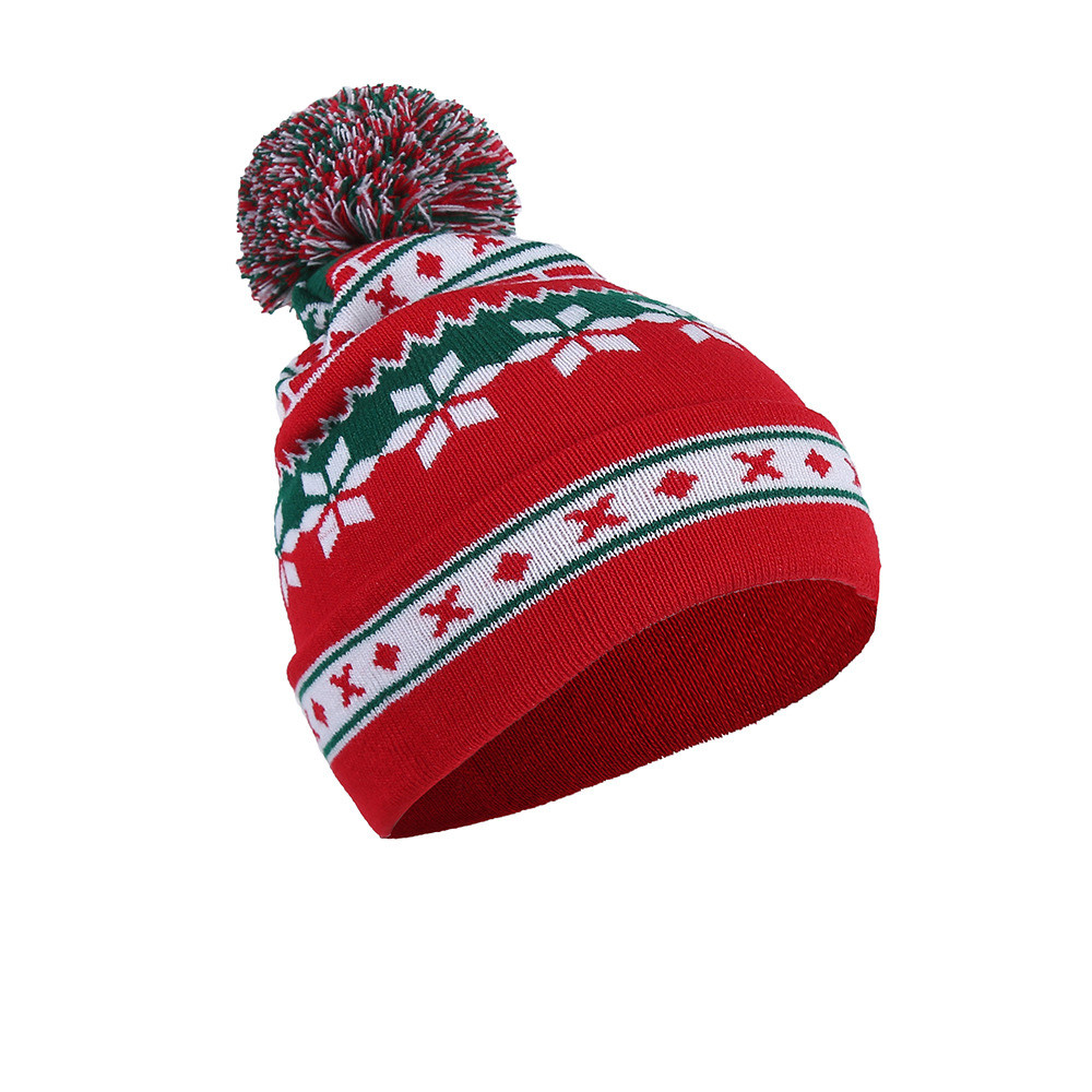Mens Womens Winter Warm Wool Knitted Cap Christmas Snowflake Pom Pom Beanie Hat