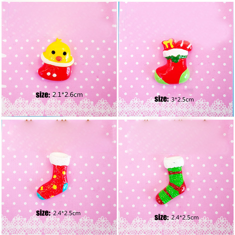 Hot Sale 20 PCS Christmas Decoration Socks Santa Claus Xmas Tree Jingle Bell Resin Ornament DIY