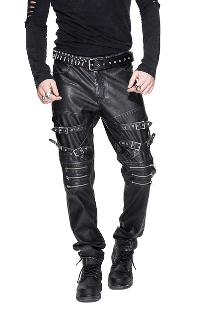 Devil Fashion Men Punk Rock Leather Pants Streetwear Casual Straight Trousers Male Fashion Hight Quality PU Casual Pants 22
