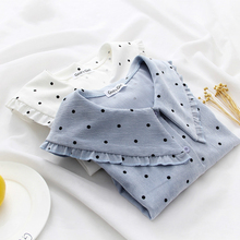 цена на Polka Dot Blouse Women Long Sleeve Preppy Style Blouses 2019 Spring Corduroy Warm White Shirts Blue Sailor Collar Vintage Blouse