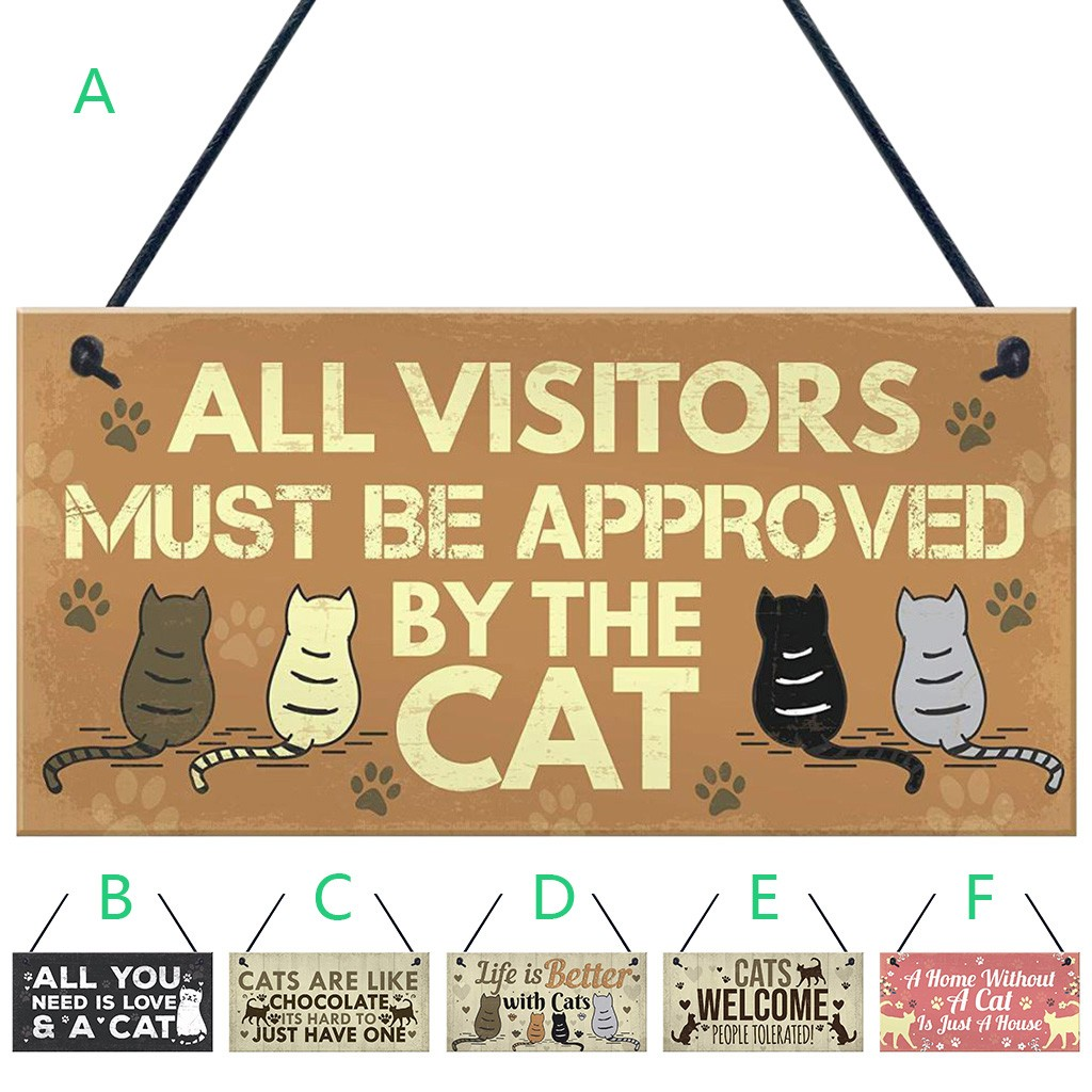 Lovely Cat Plaques Wooden Animal Printed Hanging Sign For Window Door Wall Decor Home Garden Yard Wood Plaques Decoration