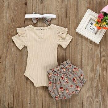 Baby Girl's Romper Shorts Hairband Summer Set 3