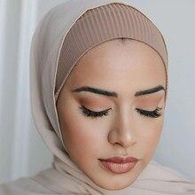 2020 muçulmano feminino com nervuras interior hijab caps islâmico tubo underscarf bonnet estiramento bandana turbante musulman femme cabeça envoltórios