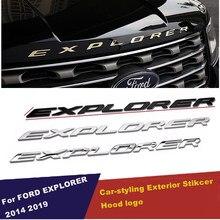 Diy carro 3d explorer letras fixas capa emblema chrome logo emblema adesivo para ford explorer esporte 2011 2014 2015 2016 2017 2019