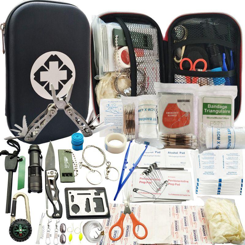Kit de supervivencia al aire libre 80 en 1, equipo multifunción de primeros auxilios SOS, suministros de emergencia para caza De silicona de mangas para la ampliación del pene/pene de sujeción de Protector de glande tapa para phallosan bomba de pene/extensor/enlargemtn