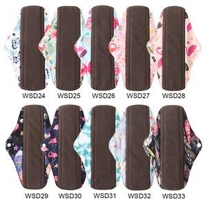 Image 4 - 5Pcs נשים וסת רפידות לשימוש חוזר מפית סניטרית סופג לשימוש חוזר פחם במבוק בד רפידות רחיץ סניטרי מגבת גודל M