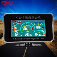 4 In 1 LCD 12v/24v Oil Pressure Voltmeter Volt Water Temperature Oil Fuel Gauge With 10mm temperature sensor for Excavator Truck