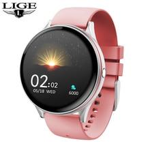 LIGE 2020ใหม่แฟชั่นผู้หญิงสมาร์ทนาฬิกาHeart Rateเครื่องวัดความดันโลหิตIP68กีฬากันน้ำSmartWatchสำหรับiPhone Android
