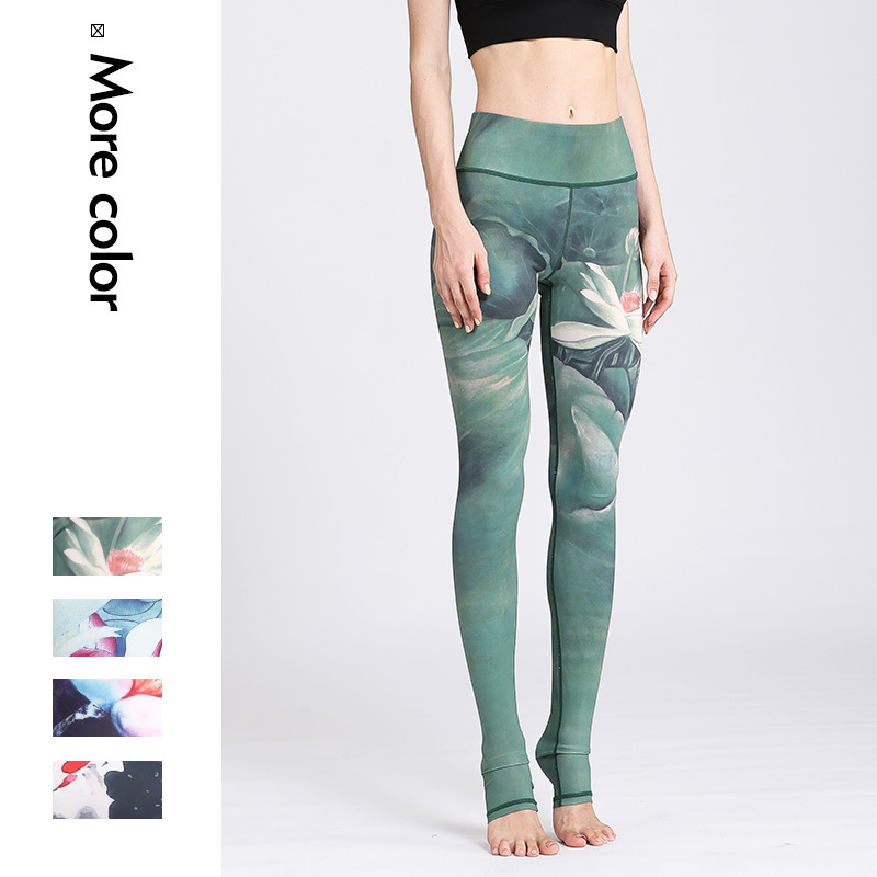 Cloud Hide Yoga Pants Women High Waist Trainer Sports Leggings Long Tights Floral Push Up Running Trouser Workout Tummy Control