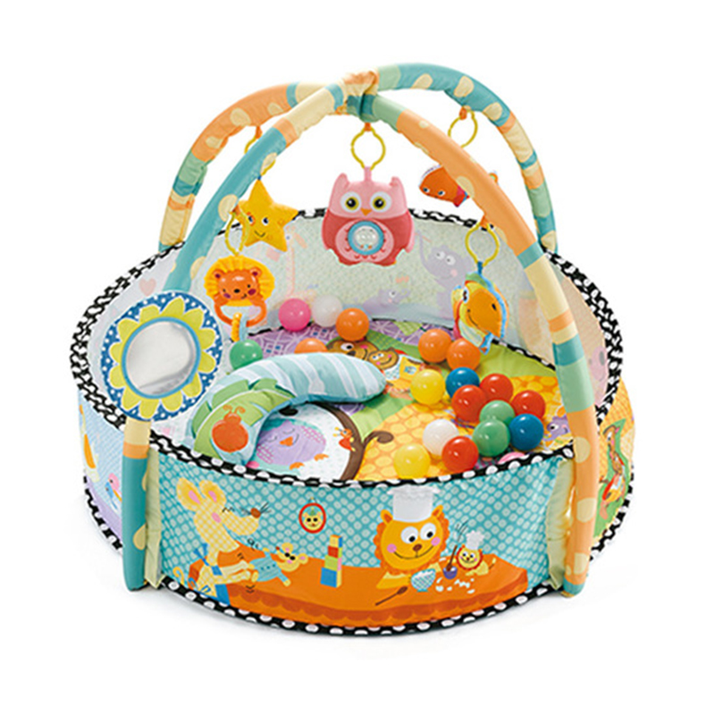 Baby Play Fitness Blanket Newborn Pool Baby Fitness Stand Baby Bed Bell Toy Colorful Game Mat Round Ocean Ball Pool