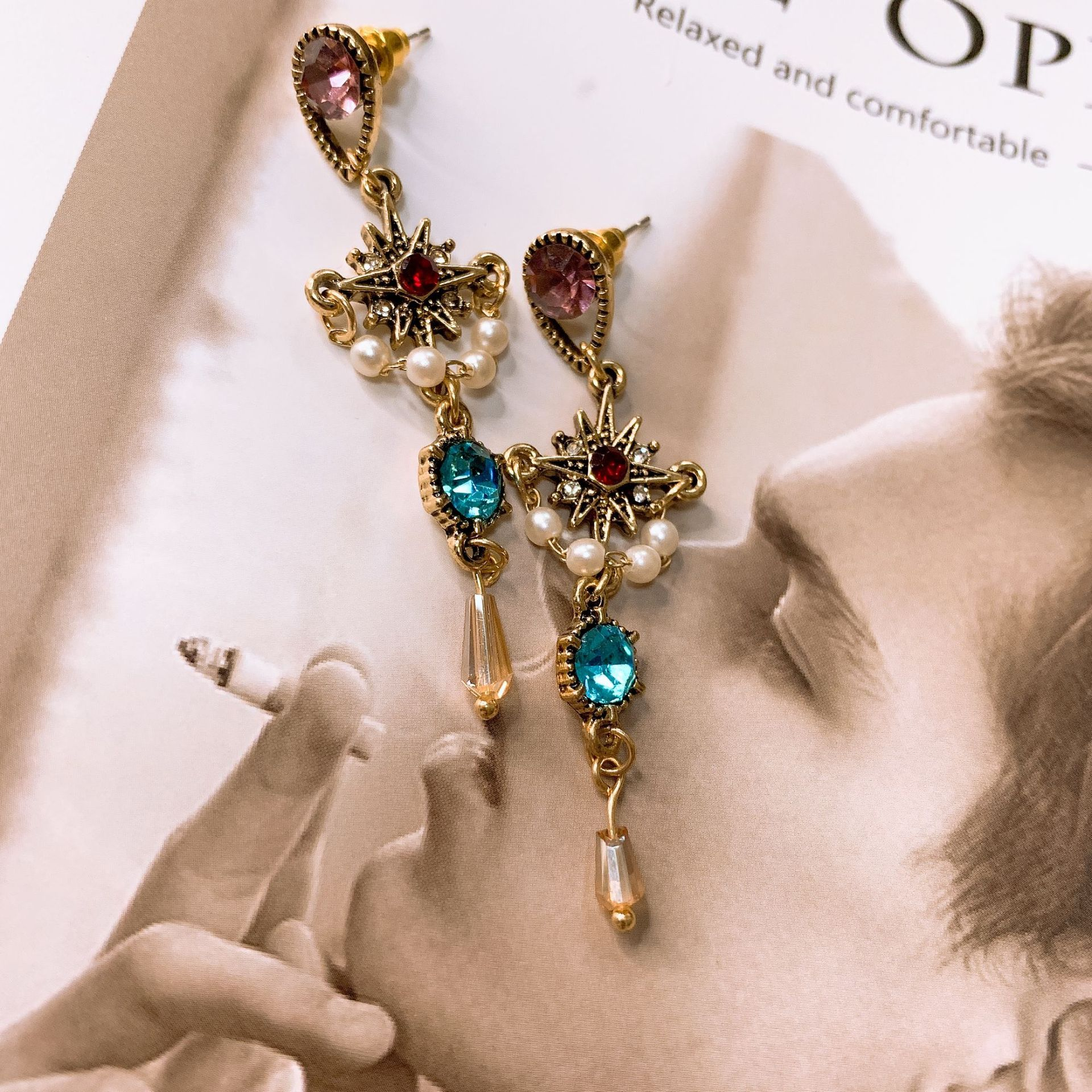 Baroque  exaggerated personality long retro earrings crystal pearl ear nail indian bohemian boho