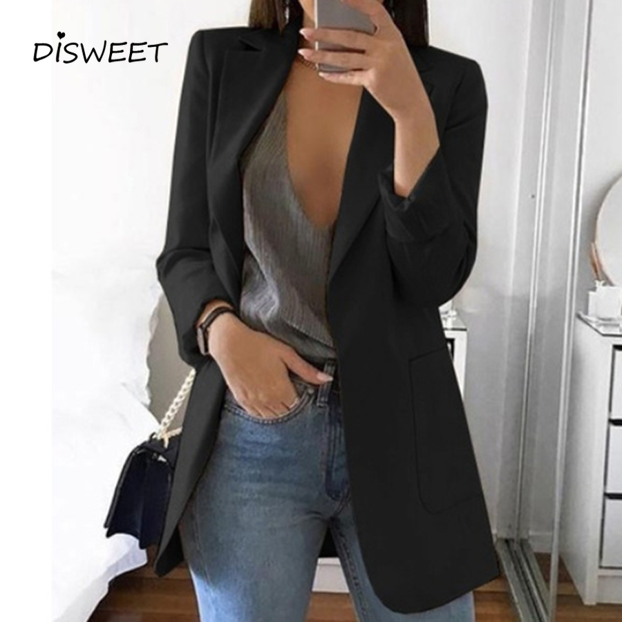 Autumn Concise Suit Coat Ladies Stylish Long Sleeve Cardigan Solid Coat Women Elegant Pocket Slim Plus Size Suit Coat S-5XL 2019