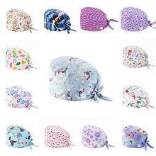 Tampão de algodão puro antisujo cirúrgico do envoltório da cabeça do suor-absorvente da enfermeira da impressão do chapéu macio floral com tampão esfrega do botão