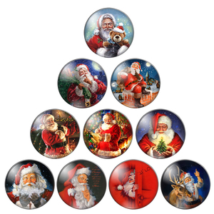 Merry christmas Santa Claus give a gift happy 8mm/10mm/ 12mm/Round photo glass cabochon demo flat back Making findings ZB0543