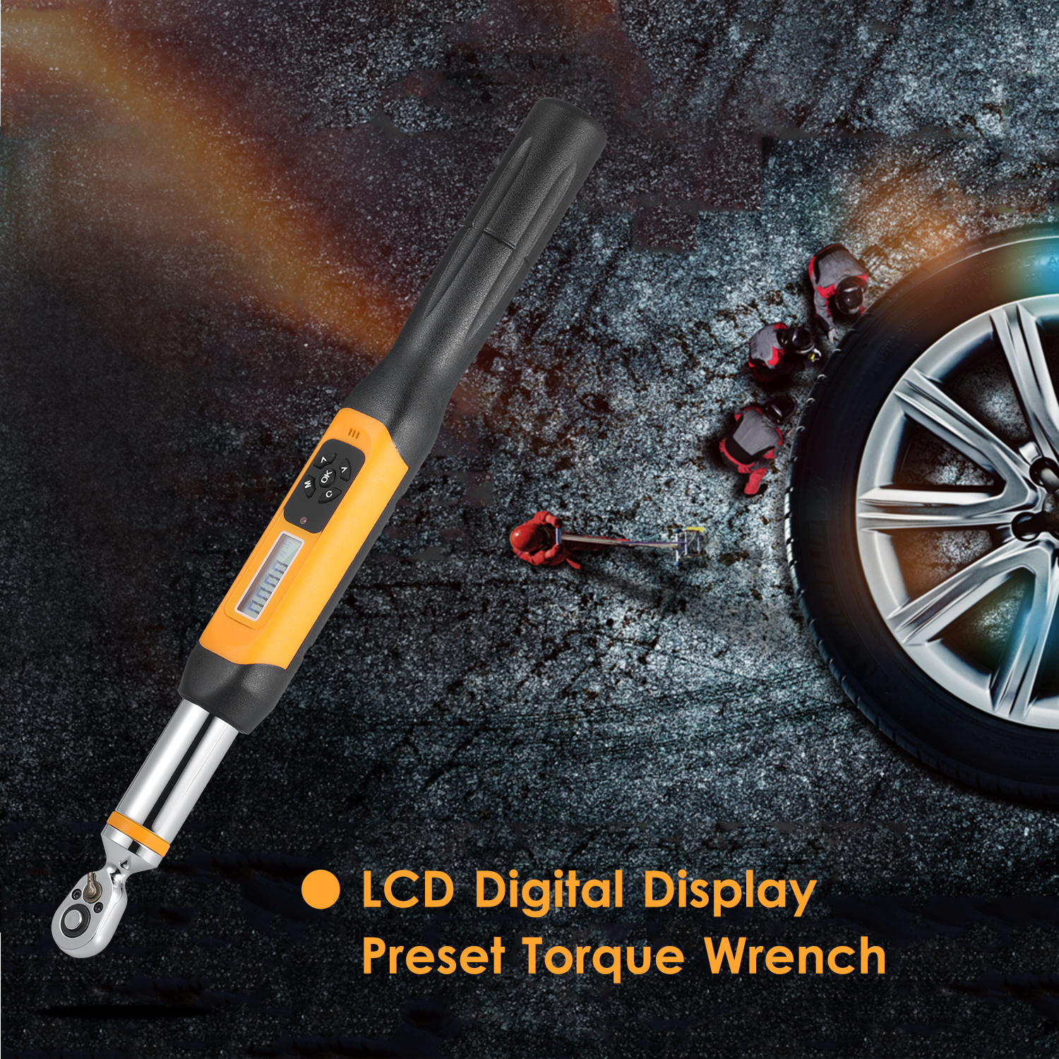 Preset Torque Wrench 10Nm Adjustable Torque 1.4-inch LCD Digital Display 100 Groups Data Storage Peak & Real Time Dual Modes