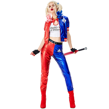 Deluxe Harley Quinn Costume Cosplay Adult Halloween Costume For Women Superhero Costume For Adult Carnival Party Suit deluxe superman aquaman cosplay costume adult men justice league superhero jumpsuit halloween costume men adult
