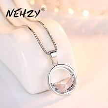 NEHZY-collar de plata de ley 925 para mujer, joyería de alta calidad, circonia de cristal, redondo, retro, colgante simple, largo de 45CM
