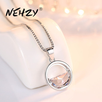 NEHZY 925 sterling silver women's fashion new jewelry high quality crystal zircon round retro simple pendant necklace long 45CM - discount item  40% OFF Fine Jewelry
