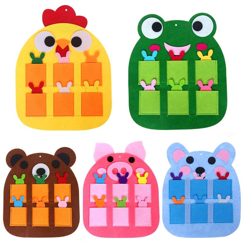 1 Set Felt Animals Elf Kindergarten Teaching Tools Brain Development Crafts For Kids Toys Attendance Record Morning Check Bag