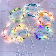 1PC LED Flower Wreath Cake Topper Happy Birthday Decor For 1st Baby Shower Cupcake Top Flags New Year