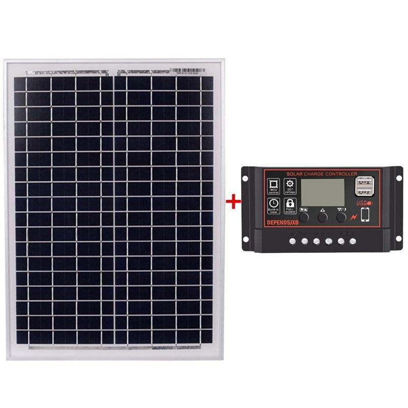 Solar Panel 18V20W Black Solar Panels + 12V/24V Solar Controller With Usb Interface Battery Travel Power Supply