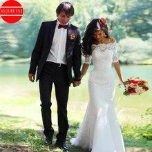 Платье свадебное с открытыми плечами, винтажное кружевное с юбкой годе, с рукавом до локтя, на шнуровке, с юбкой годе